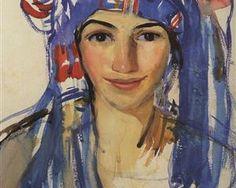 Self-portrait wearing a scarf - Zinaida Serebriakova