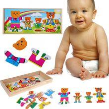 Urso bonito Vestir Puzzle Brinquedo Brinquedos Educacionais Do Bebê Trocar de Roupa para o Urso das Crianças Brinquedo Jogo de Tabuleiro De Madeira 31*14*3.5 cm(China (Mainland))
