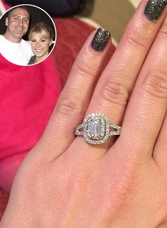 The Most Jaw-Dropping Celebrity Engagement Rings | People -Full House star Jodie Sweetin's double halo-set, split-shank ring
