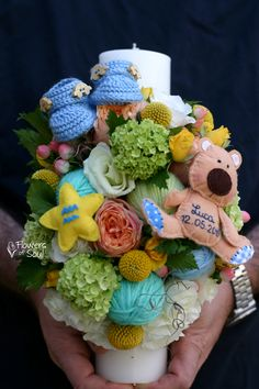 Baby Boy Shower, Crochet Flowers, Floral Arrangements, Projects To Try, Candles, Cake, Sweet, Bouquet, Wedding