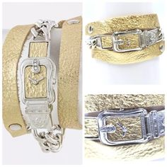 "D1 Gold Silver Vegan Leather Buckle Wrap Bracelet Fun and versatile bracelet.  Gold metallic fabric attached to silver metal chain link.  Approximately 23"" long.  Two snaps to adjust the tightness of how you wrap it.  ‼️ PRICE FIRM UNLESS BUNDLED WITH OTHER ITEMS FROM MY CLOSET ‼️ Boutique Jewelry Bracelets"