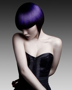 HJI British Hairdressing Awards Southern Hairdresser of the Year 2010 & 2013 winner Seung Ki Baek from Rush Hair Epsom won the Rush photographic competition with this purple bob  entry in 2012.