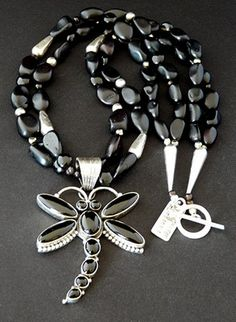 Onyx and Sterling Silver Dragonfly Pendant with Black Amber, Pyrite Nuggets, Jasper Coin Beads & Sterling, $359 @ Southwest Designs