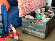 Make a Herringbone Wood Toy Box Storage Ottoman : Rooms : Home & Garden Television