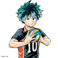 Izuku Midoriya (My Hero Academia) x Shoyo Hinata (Haikyuu! Buko No Hero Academia, My Hero Academia Memes, Hero Academia Characters, My Hero Academia Manga, Anime Characters, Anime Crossover, Fanarts Anime, Manga Anime, Deku Anime