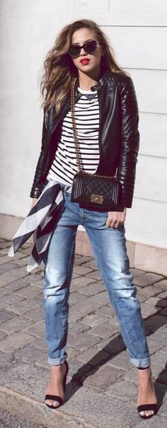 leather jacket, striped t-shirt and rolled boyfriend jeans