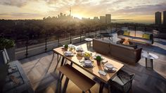 The rooftop terrace lounge offers sweeping views of Toronto's cityscape. Just past mature, verdant treetops, you'll see the natural beauty of the meandering Humber River and its many parks, ponds and trails as it flows to Lake Ontario. Grab a glass of wine and gather around the fire pit with friends. It's relaxation at its finest. #RooftopTerrace #Etobicoke #Toronto #Condo