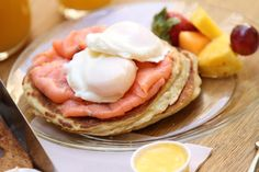 Eggs Benedict and Salmon on a pancake by California Bakery