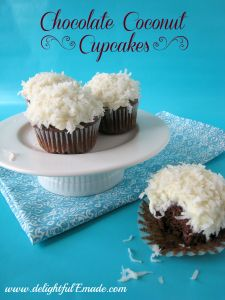 Chocolate Coconut Cupcakes - Delightful E Made Best Cake Recipes, Cupcake Recipes, Baking Recipes, Cupcake Cakes, Dessert Recipes, Favorite Recipes, Cupcake Ideas, Cup Cakes, Fun Desserts