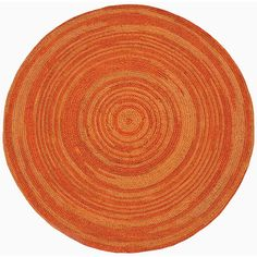 Hand-woven Orange Abrush Braided Jute Rug (6' x 6' Round) | Overstock.com Shopping - The Best Deals on Round/Oval/Square