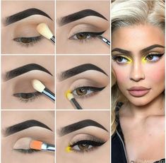 Here is Kylie Jenner Style Eye Makeup Tutorial! Here is Kylie Jenner Style Eye Makeup Tutorial! Eye Makeup Steps, Makeup Eye Looks, Simple Eye Makeup, Natural Eye Makeup, Eyebrow Makeup, Eyeshadow Makeup, Yellow Eye Makeup, Yellow Eyeshadow, Makeup Kit