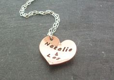 Personalised Copper Heart Name Necklace
