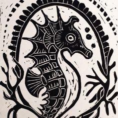 Items similar to Seahorse Emblem - Linocut Print on Etsy Linoleum Block Printing, Linoprint, Stamp Printing, Scratchboard, Wood Engraving, Linocut Prints, Texture Painting, Wood Print, Art Images