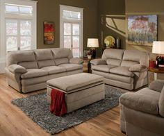 Simmons Upholstery 6120 Malibu Cocoa Tan Sofa and Loveseat