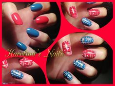 Red & Blue With Nailart #red #blue  #Nails #Nailart #nailpolish #Polishaddicts - bellashoot.com