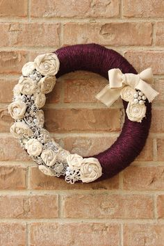 Shabby Chic Christmas Wedding Purple Linen by TheLandofCraft, $125.00