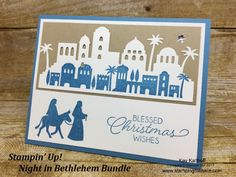 2017 VIDEO TUTORIAL Stampin' Up! Night in Bethlehem Bundle, easy and elegant and mailable! Created by Kay Kalthoff with Stamping to Share. How To Video Included. Send Christmas Cards, Homemade Christmas Cards, Stampin Up Christmas, Christmas Signs, Homemade Cards, Holiday Cards, Christmas Ideas, Elegant Christmas, Christmas Stuff