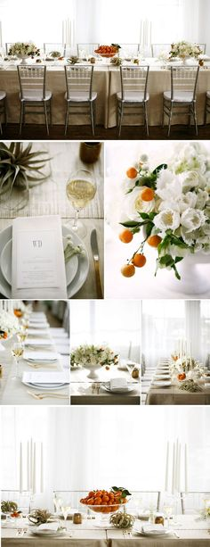 white with orange, olive accents | Photography: Belathée Photography  Floral & event design & styling: McKenzie Powell Designs