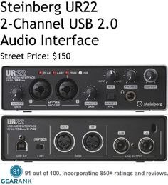 Steinberg UR22. This is one of the highest rated 2-Channel audio interfaces available. Features: - A/D resolution up to 24-bit/192kHz - 2 Independent in/out audio channels that accept both XLR and TRS inputs. - 48V phantom power capable.  For a detailed guide to 2-channel audio interfaces see https://www.gearank.com/guides/best-budget-audio-interface-2-channels