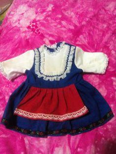 Puppen-Kleid-Kleidung-40-50-cm-Puppe-60er-70er-Spitze-Dirndl-Vintage-Baetz