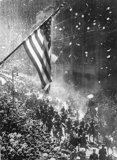 The ticker-tape parade in New York following Charles Lindbergh's arrival after his solo flight across the Atlantic. (Photo by Central Press/Getty Images)