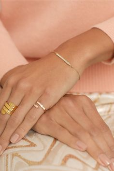 Halleh|18-karat gold diamond bracelet