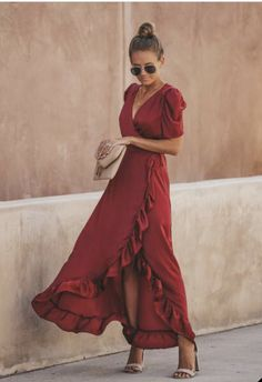 An award-winning dress! Our Red Carpet Ruffle Wrap High Low Maxi Dress has such an elegant satin sheen that makes it completely stunning! We love the dramatic pleated draped shoulders. Satin Dresses, Elegant Dresses, Sexy Dresses, Fashion Dresses, Long Dresses, Casual Dresses, Vestidos Sexy, Mode Chic, Tube Dress