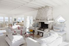 White Stone Fireplace #beachstyle