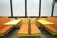 Formica: Diner booths with formica table and bench seats