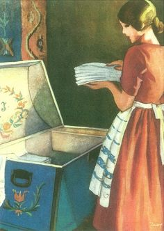 Do girls even keep Hope Chests any more? When I had kids I turned it into a toy box because my parents bought me a toy box and not a hope chest too funny! Nostalgia, Fee Du Logis, Retro, Inspiration Art, Ol Days, The Good Old Days, Hope Chest, Vintage Art, Childhood Memories