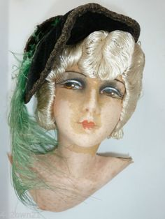 VINTAGE-1920-FRENCH-BOUDOIR-FLAPPER-DOLL-CLOTH-HEAD