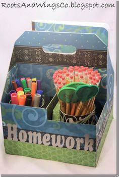 Homework supply tote made out of a Sonic's drink carrier- how cool is that?