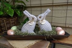 BUNNY  PRIMITIVE SPRING Set of 2  Easter Rabbit by PrimitivesByCyn