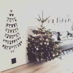 Christmastree on the wall - Buy it at www. Christmas Feeling, Noel Christmas, Christmas Is Coming, Simple Christmas, Winter Christmas, Licht Box, Xmax, Xmas Decorations, Merry Xmas