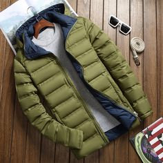 Men's Clothing Men Coat Winter Jacket Short Duck Down Coat Hoodie Contrast Color Solid Zipper Pocket Big Size Size M Color blue Mens Winter Coat, Winter Jackets, Men Coat, Duck Down, Contrast Color, M Color, Men's Clothing, Flat Rate, Zipper