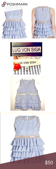 ad38b015f31 LUG VON SIGA SS17 Collection Luxury Designer LUG VON SIGA Ruffled Vertical  Striped Top LUG VON