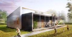 Una casa unifamiliare per quattro persone, con materiali provenienti dall'#upcycling.