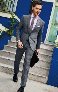 Suit up for work - manning up #greysuit #slimtie http://www.halftee.com
