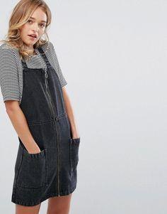 743c16fd159a Monki Acid Wash Denim Overall Dress - Black Denim Dungaree Dress