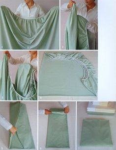 Properly fold a fitted sheet. | 20 Simple Tricks To Make Spring Cleaning So Much Easier
