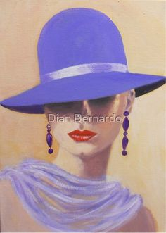 Lady in a blue hat. Original acrylic portrait fantasy lady painting on striking colors and a pose or position of a figure or face and the absence of detailed eyes can still evoke emotions and drama. Tableaux Vivants, Pintura Country, Face Art, Painting Inspiration, Painting & Drawing, Artist Painting, Art Lessons, Fashion Art, Pop Art