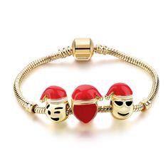 Szelam Christmas Bracelets For Women And Men Jewelry Gold Color Emoji Charm  Bracelets   Bangles Pulseira DIY Gifts 2d63fcac6c45