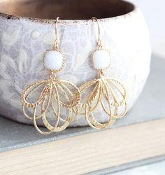 White Glass Earrings Modern Gold Earrings by apocketofposies