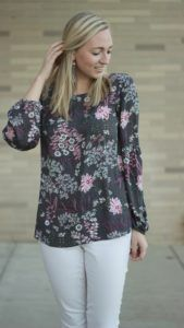 Grey Cardi Floral Blouse Look A Dash of Bruck 11