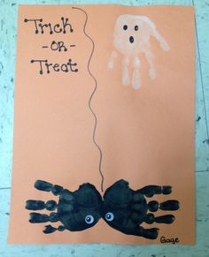 Spooky Ghost and Spider!   My two year old students did this craft using their hands. They really enjoyed getting messy with the paint.