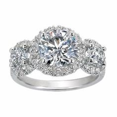 Three Stone Diamond Halo Ring from Brilliant Earth (I know, I know, not a dress - but look at it!) Love the vintage look Diamond Wedding Rings, Halo Diamond, Diamond Rings, Bling Bling, Dream Engagement Rings, Three Stone Rings, Halo Rings, Beautiful Rings, Brilliant Earth