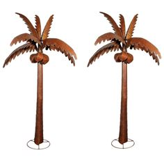Pair of Large and Impressive Painted Folk Art Steel Palm Trees | From a unique collection of antique and modern sculptures and carvings at http://www.1stdibs.com/furniture/folk-art/sculptures-carvings/