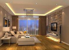 idee decoration salon, sofa couleur crème, papier peint pierre, plafonnier pendant, tableaux artistiques