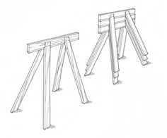 These easy to make sawhorses are light, sturdy, and stack neatly when not in use. A simple scarf joint with a spline is glued and screwed to the legs, and that's all there is to the joinery. Sawhorse Plans, Fine Woodworking, Woodworking Ideas, Diy Projects, Pdf, Garage Storage, How To Plan, Wood Working, Storage Ideas