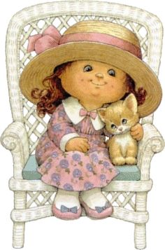 Ruth Morehead - me and my kitty Illustration Mignonne, Cute Illustration, Cute Images, Cute Pictures, Decoupage, Art Mignon, Sarah Kay, Holly Hobbie, Digi Stamps